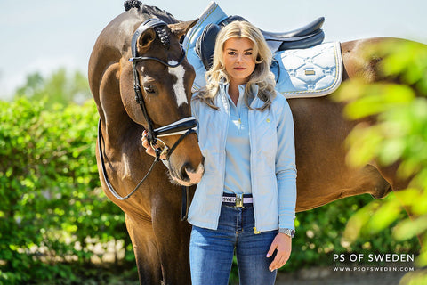 PS of Sweden Sky Blue Jump Saddlecloth, Sky Blue Bonnie Polo Shirt and Sky Blue Annika Lightweight Summer Riding Jacket
