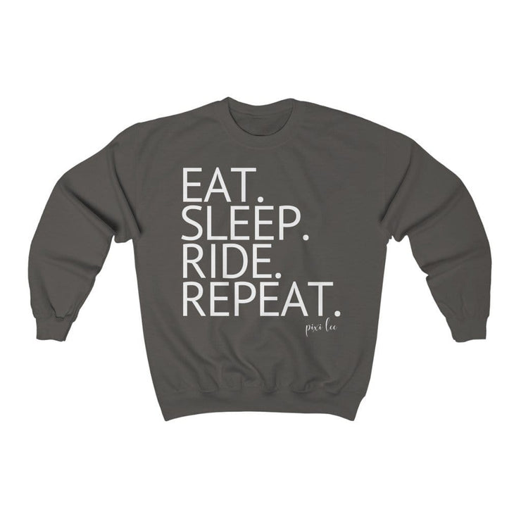 Printify Sweatshirt Charcoal / S Eat. Sleep. Ride. Repeat. Sweater