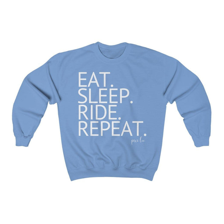 Printify Sweatshirt Carolina Blue / S Eat. Sleep. Ride. Repeat. Sweater