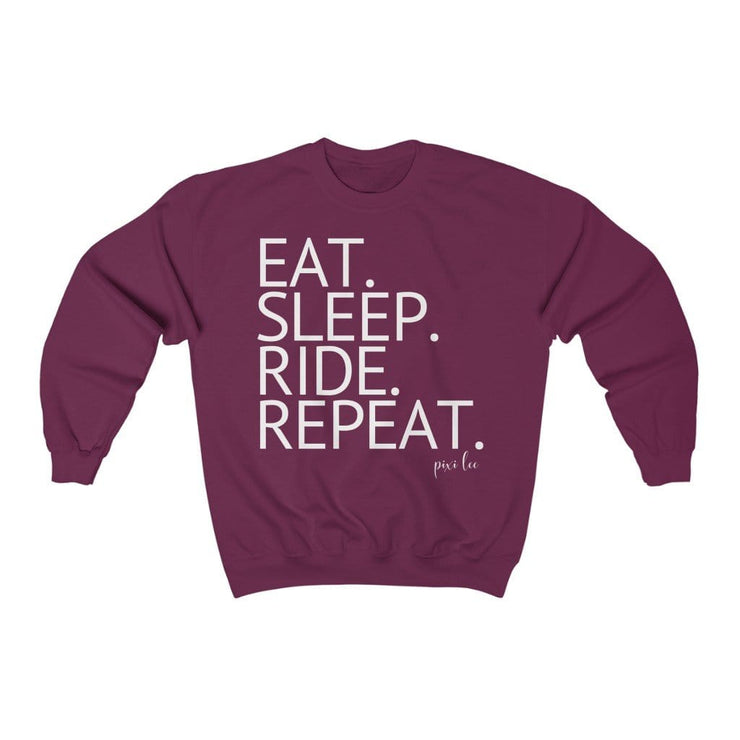 Printify Sweatshirt Maroon / S Eat. Sleep. Ride. Repeat. Sweater