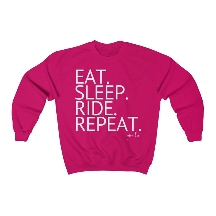 Printify Sweatshirt Heliconia / S Eat. Sleep. Ride. Repeat. Sweater