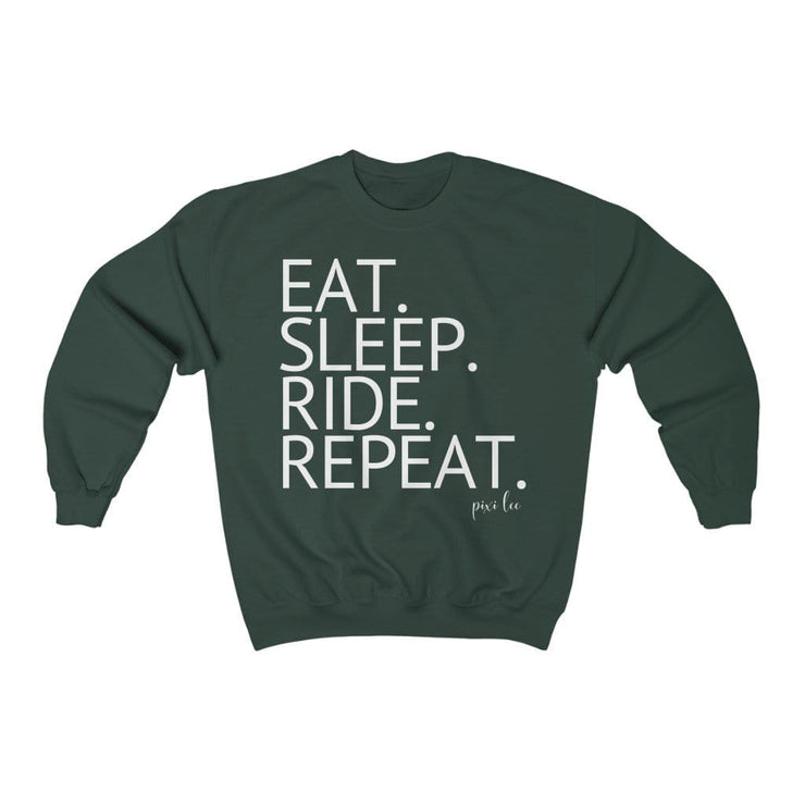 Printify Sweatshirt Forest Green / S Eat. Sleep. Ride. Repeat. Sweater