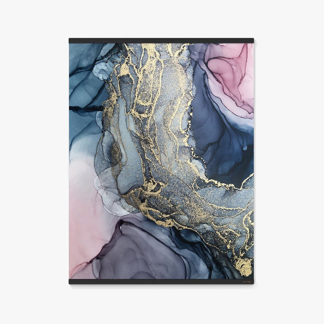 Blush, Payne's Gray and Gold Metallic Abstract