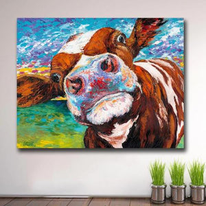 Tableau pop art vache en folie