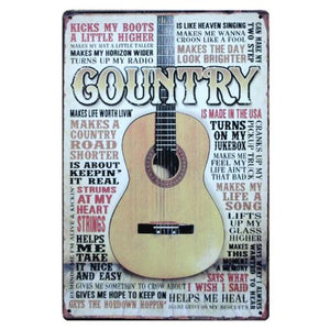 Plaque métal vintage guitare Memphis country