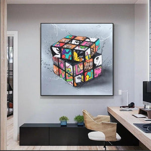 Toile pop art rubik cube