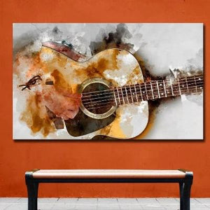 Toile abstraite la guitare du chanteur