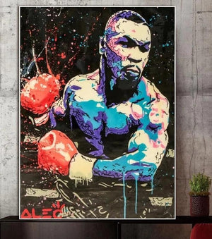 Toile Street art Mike Tyson le champion de boxe