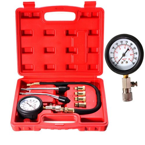 Automotive Petrol Engine Compression Tester Test Kit Gauge Motorcycle Tool Valve