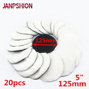 "JANPSHION 20pc 125mm car polishing pad 5"" inch polish waxing pads Wool Polisher Bonnet Car paint Care"