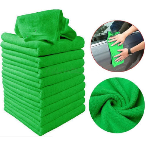 10 Pcs Green Microfiber Washcloth.