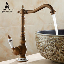 Basin Faucets Antique Bathroom Sink Mixer Deck Mounted Single Handle Single Hole WC Bathroom Faucet Brass Hot and Cold Tap 9210F