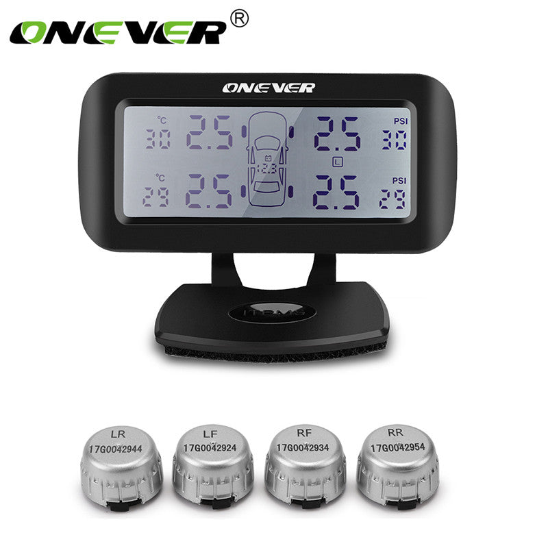 Onever TPMS Car Wireless Tire Pressure Monitoring System LCD Display 4 External Sensors High/Low Pressure Temperature Alarm