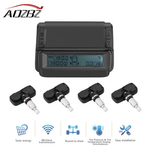 Solar TPMS Tire Pressure Alarm Monitor System Temperature Alarm LCD Display with Car 4 Internal Sensor Support 7 Tyre Monitoring