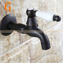 Bibcocks Black Brass Wall Mount Washing Machine Taps Bathroom Corner Mop Pool Small Tap Outdoor Garden Cold Water Faucet SY-068R