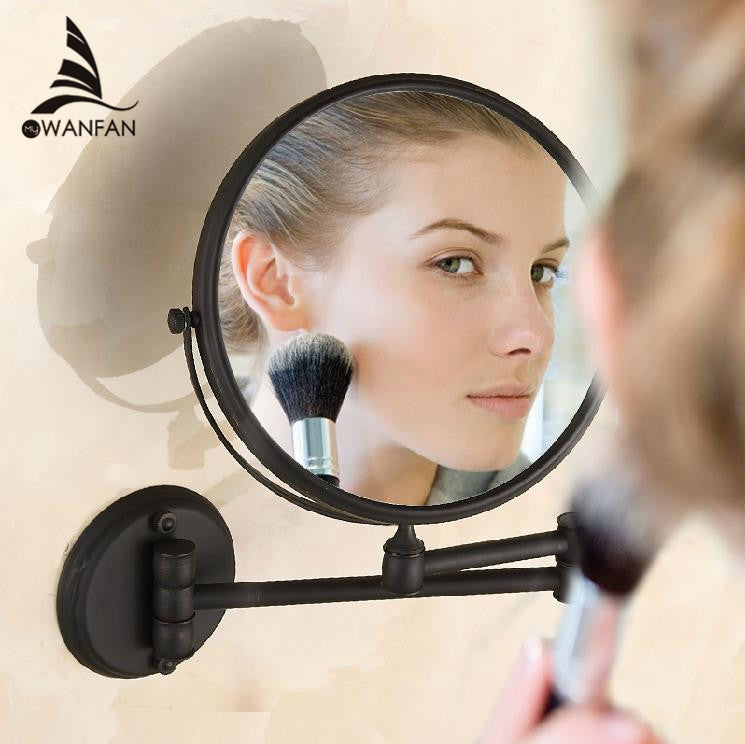 Bath Mirrors Cosmetic Makeup Mirror 8 inch Round Wall Mirrors of Bathroom Floding Magnifying Mirror Brass Black Mirrors H-52