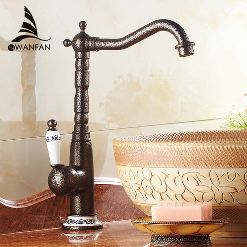 Basin Faucet Bronze Solid Brass Kitchen Bathroom Sink Faucet High Arch Swivel Spout Deck Mixer Hot Cold Water Tap Crane WF-9903G