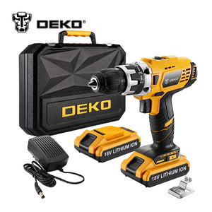DEKO GCD18DU2 18-Volt DC Lithium-Ion Battery 1/2-Inch 2-Speed Electric Cordless Drill Mini Screwdriver Wireless Power Driver