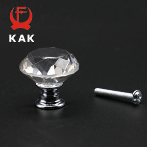 KAK 5pcs/lot 20-40mm Diamond Shape Design Crystal Glass Knobs Cupboard Drawer Pull Kitchen Cabinet Wardrobe Handles Hardware