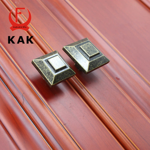 KAK 10PCS Antique Brass Square Handles Knobs wholesale Drawer Wooden Jewelry Box Cabinet Pull Bronze Handles Furniture Hardware