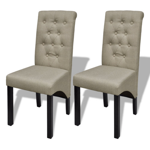 iKayaa 2 Pcs Dining Chairs Old Style Beige Chairs For Dining Room Furniture ES Stock