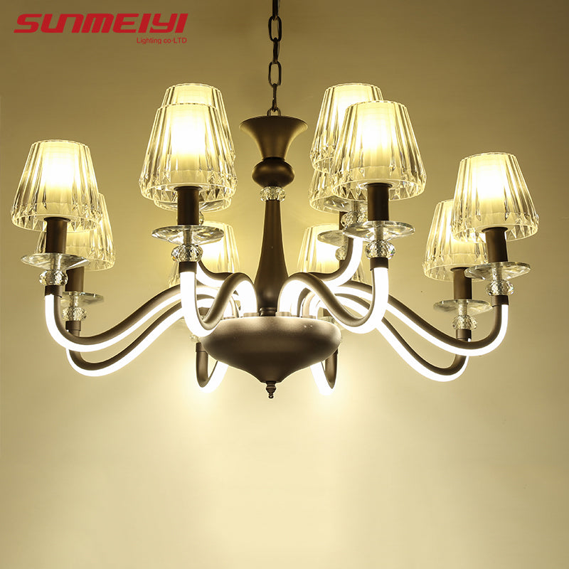 Luxury Retro LED Hanging Glass Chandelier lustre cristal moderne With Lampshade for Living Dining Room Restaurant Decor