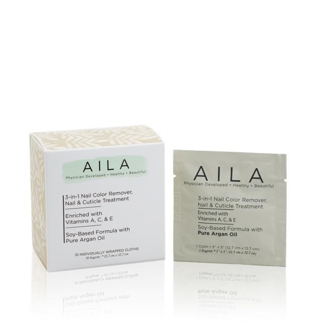 Aila 3 IN 1 NAIL COLOR REMOVER REMOVER WIPES - PACK OF 10