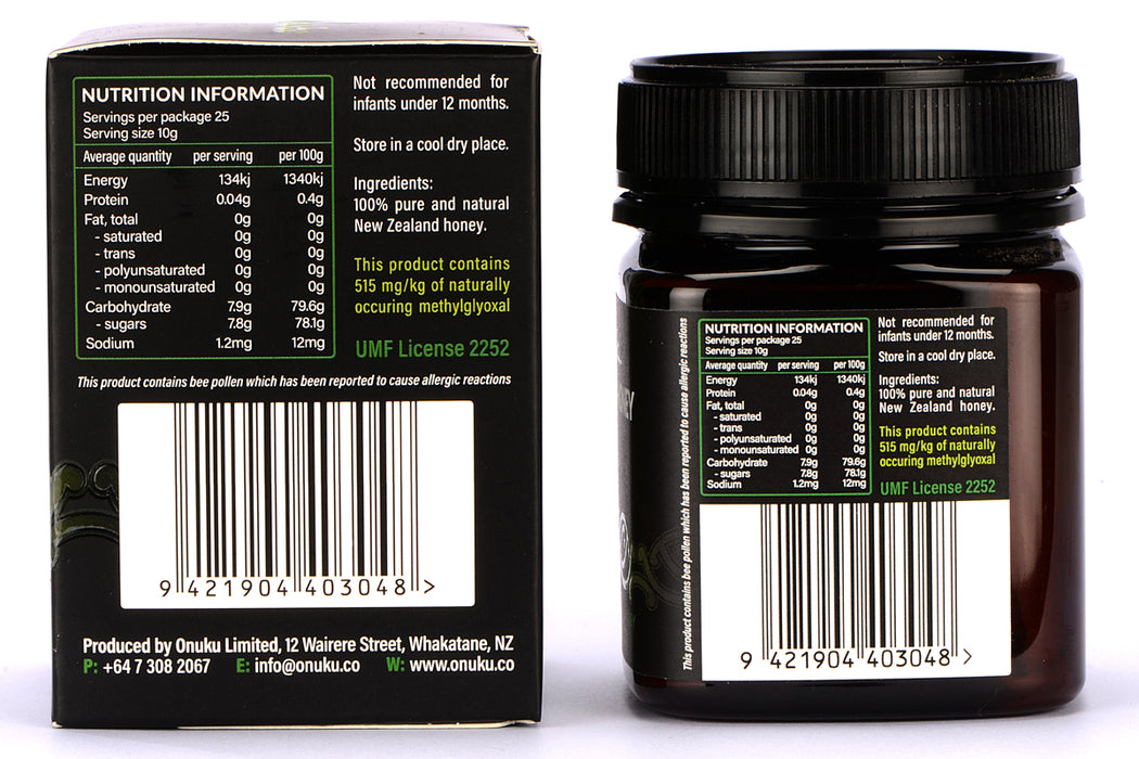 Manuka Honey Certified UMF 15+ 250g Authentic Premium 100% Natural Honey from New Zealand (MGO 515+)