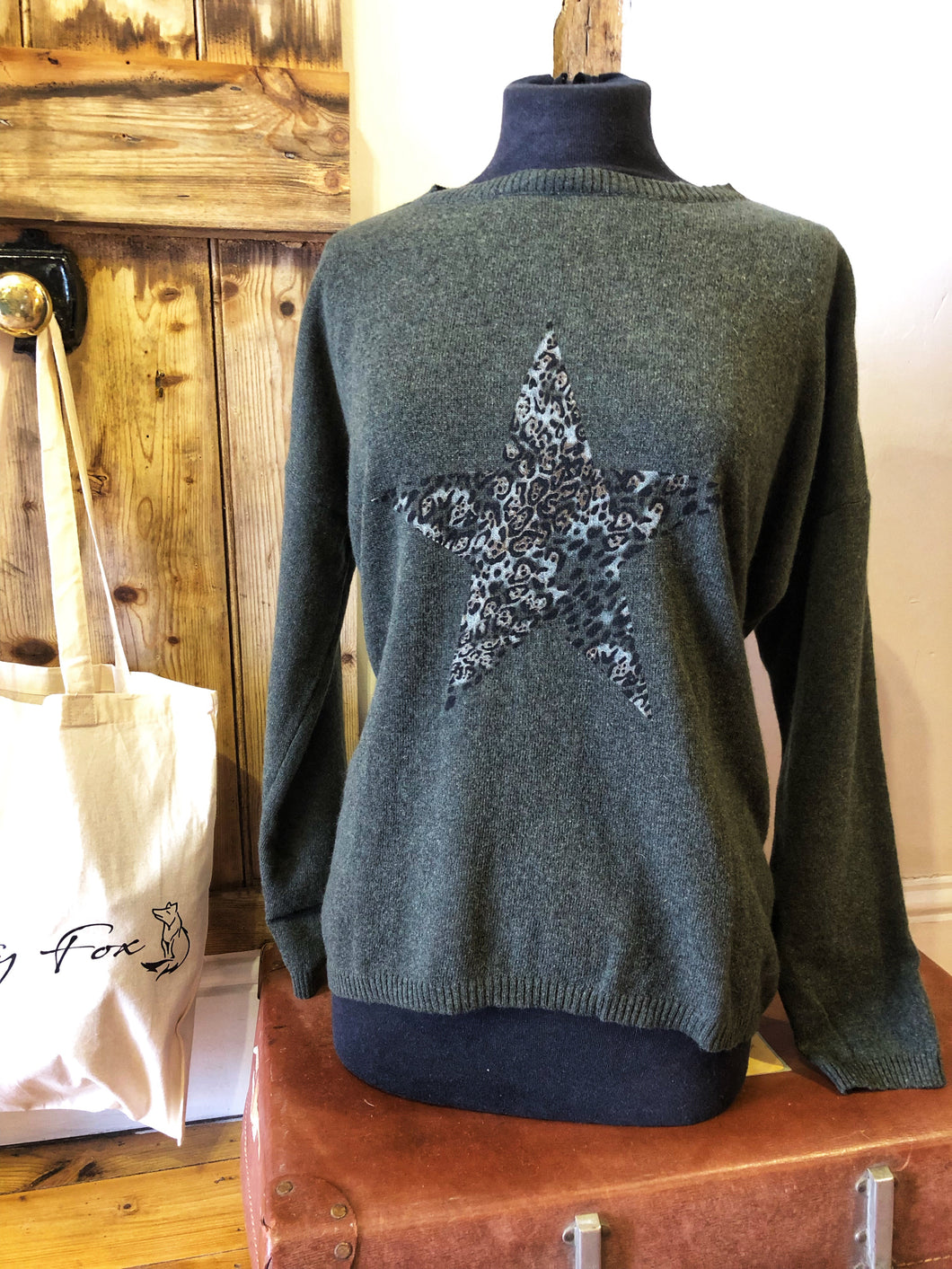 Green/leopard star Luella jumper