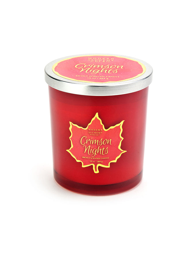10oz Fall Leaf Red Candle - Crimson Nights