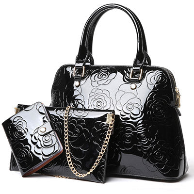 High Quality Patent Leather Women Handbags Floral 3 Sets - OrganicShiny