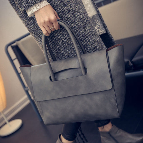 Luxury Women Designer Quality Leather Trapeze Tote Hand Bag - OrganicShiny