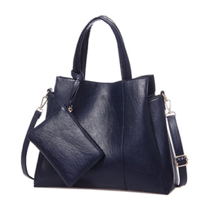 High Quality PU Leather Solid Tote For Women 2 Sets Shoulder Bag - OrganicShiny