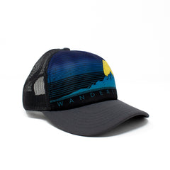 Wanderlust Trucker Hat Grey Peak