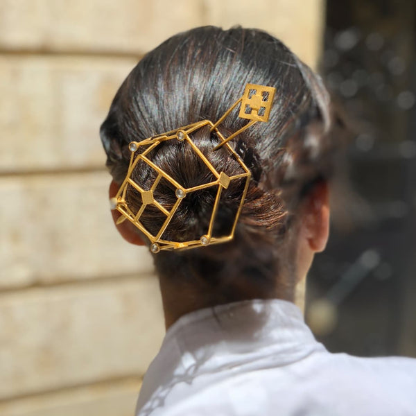 Gold plated brass hair bun accessory