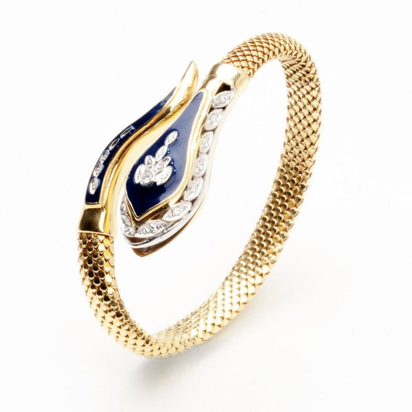 Vintage style eternity gold bangle, with enamel and diamonds.  9kt gold