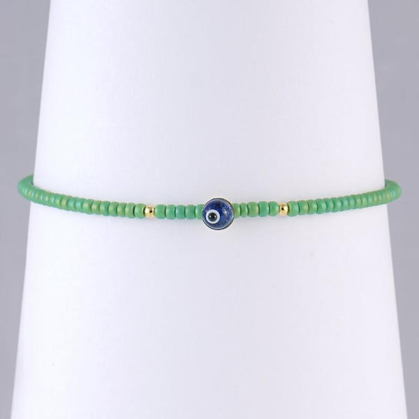 Subtle the-grass-is-greener Evil Eye bracelet with beads, for men and women