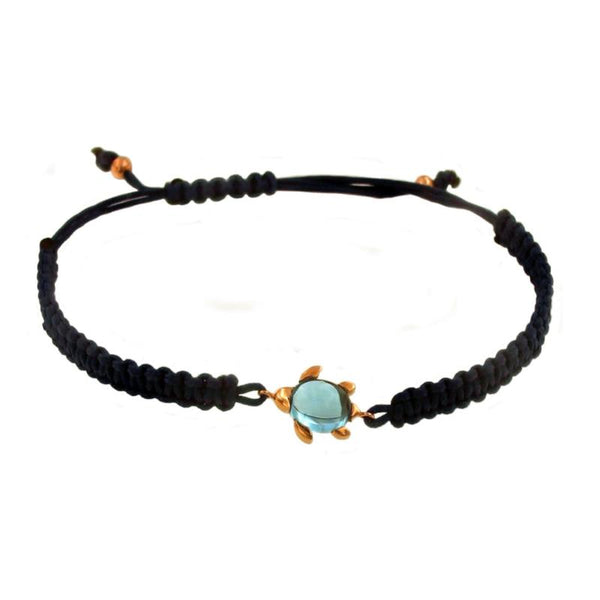 8kt Rose Gold, Turtle Macram_ Bracelet.
