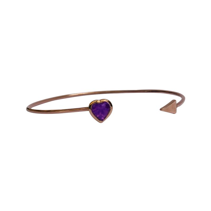 Fine 9kt gold bangle, with a heart shape Amethyst and arrow