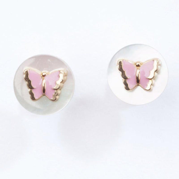 Sweetheart butterfly enamel earrings with mother of pearl