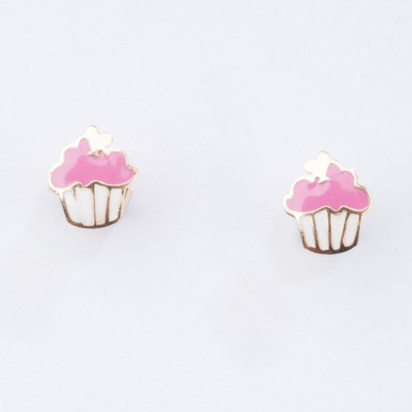 Super sweet cupcake pink enamel earrings