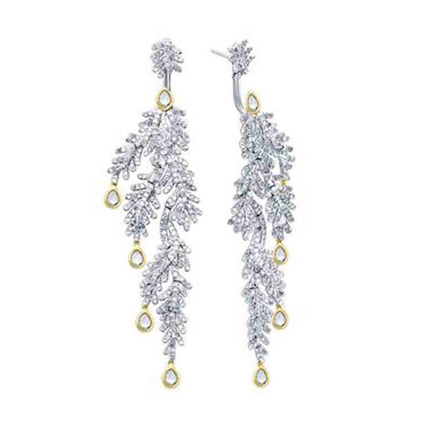 Double Sided Iced Leaves Earrings
