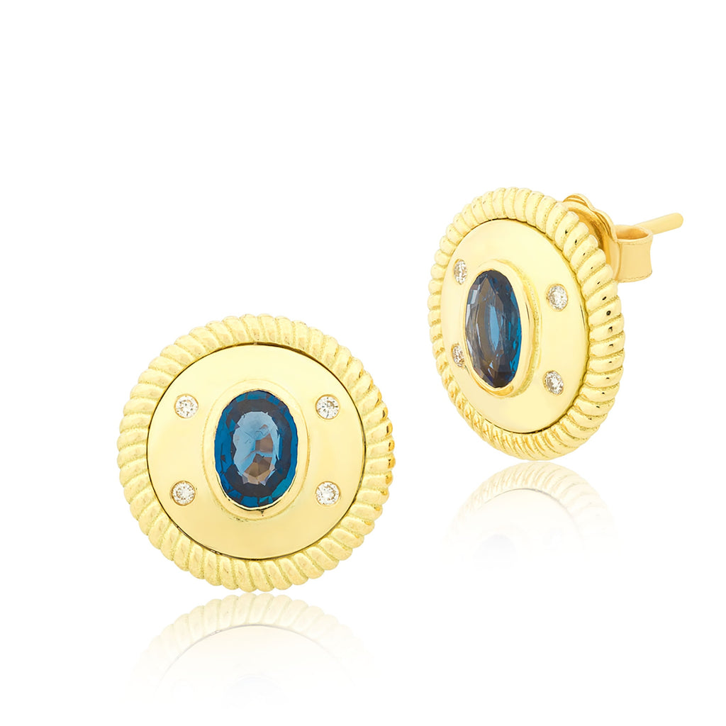 Sapphire coins earrings