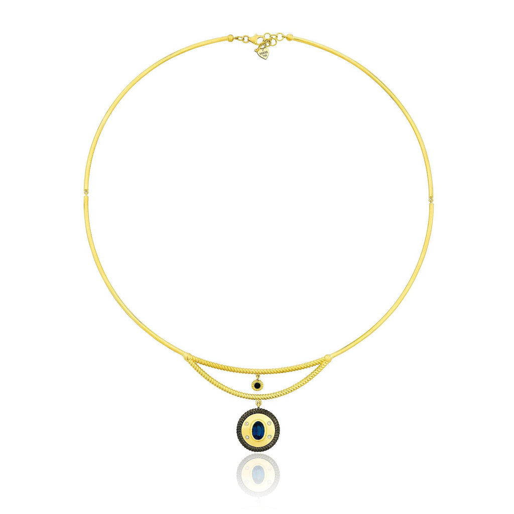 Twisted Gold-Blue Sapphire Coin Necklace