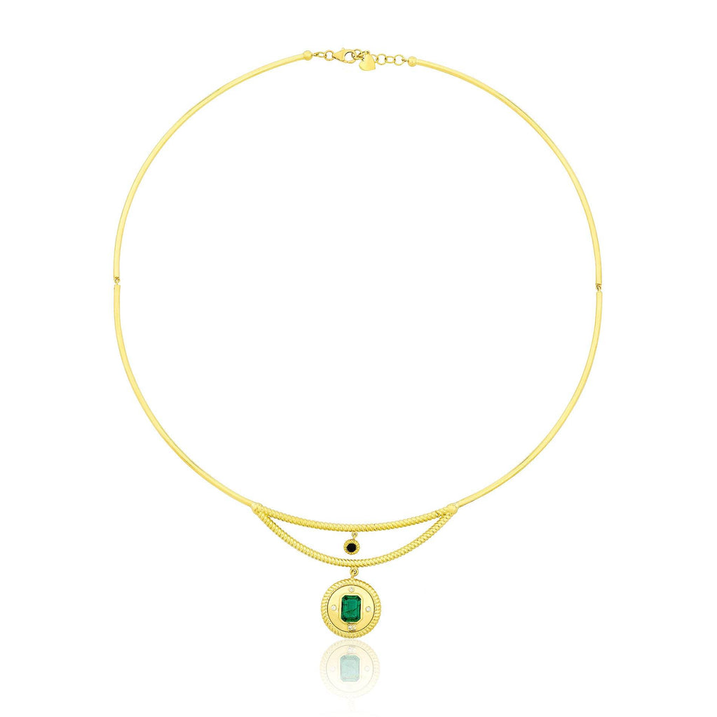 Twisted Gold-Emerald Coin Necklace