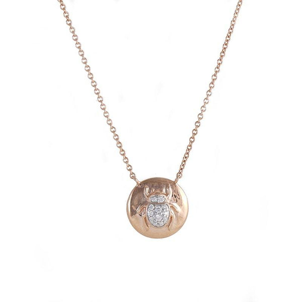 18kt Rose Gold, subtle pendant with a Scarab for good luck, with diamonds in the center