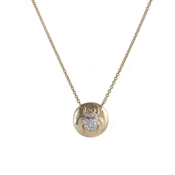 18kt Yellow Gold, subtle pendant with a Scarab for good luck, with diamonds in the center