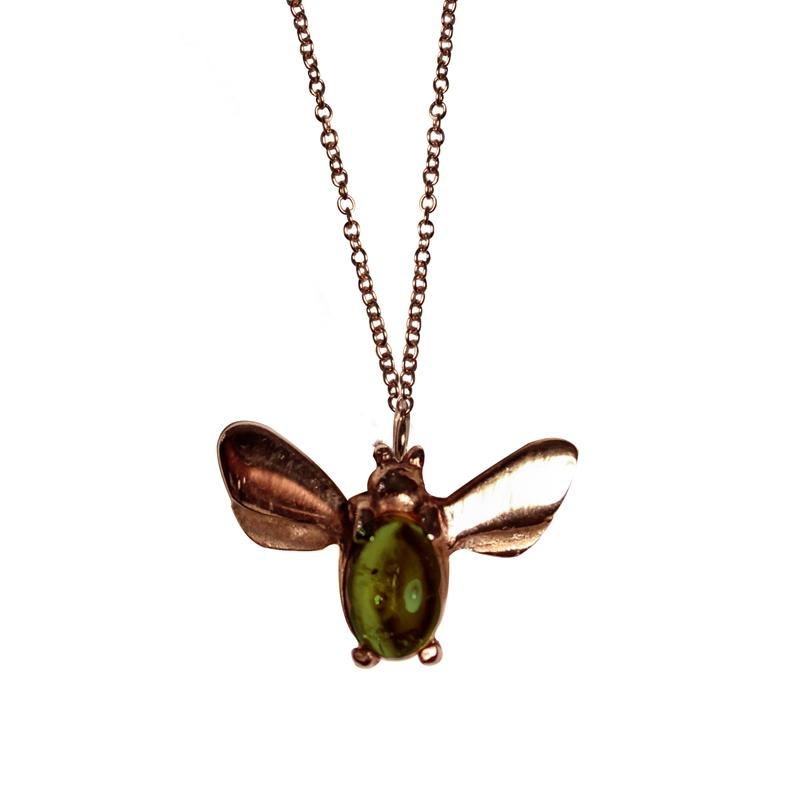 Aonie, 9kt yellow gold, bee pendant with a pink or green Tourmaline in the center.