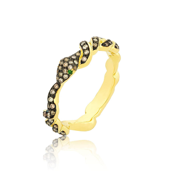 Brown Diamond Serpentine Ring