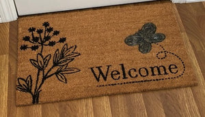 Bumble Bee Applique Welcome Mat, 18 x 28 Inches